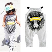 Wholesale girls harnesses resale online - Children Lion printing Romper summer kids Climbing clothing baby girls Harness Jumpsuits good quality C2426