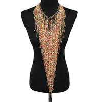ingrosso collane di stile in perle in boemia-Collana stile choker a forma di nappa a catena lunga con pendente a forma di nappa fatta a mano da donna in stile bohemien