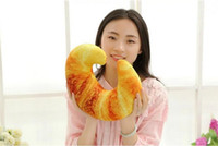 Wholesale Shrimp Toys - 1pc Creative Funny 40cm Shrimp Meat & Bread & Pepper Throw Pillows Simulation 3D U Cushions Neck pillow Handwork Nap Pillows