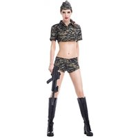 Wholesale Fun Sexy Costumes - Fission Camouflage Uniform Temptation Spy Soldier Ladies Sexy Dresses Fun Uniform The Stage Clothing DS Clothing
