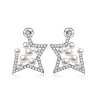 Wholesale Gold Fashion Star Earring - 2017 New Fashion Star Imitation Pearl with Tiny CZ Stone White Gold Plated Stud Earrings for Women Bridal Wedding Jewelry Wholesale AE012