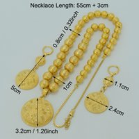 Wholesale Earring Prayer - earrings necklace Anniyo Beads Necklace Earrings For Women Gold Color Ethiopian Jewelry sets Africa Prayer Beads Ball Necklaces Arab #033606