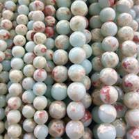 joyas de mar verde al por mayor-Sedimento de mar verde azul natural Perlas de piedra de jaspe pulsera Fabricación de joyas perlas Fuentes de perlas Jaspe imperial 4 6 8 10mm piedra de emperador