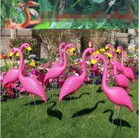 Wholesale Garden Cement - Artificial Flamingo Sculpture Garden Courtyard Scenery Decorations Plastic Cement Arts and Crafts Wedding Party Accessories CCA7691 50pcs