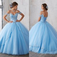 Wholesale Debutante Gowns Tulle - Light Sky Blue Beaded Ball Gown Quinceanera Dresses 2017 Off The Shoulder Crystal Masquerad Sweet 16 Tulle Backless Debutante Dress