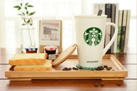 Wholesale Porcelain Mermaid - Classic Starbucks Green Mermaid logo mug leave message cup ceramics Coffee cup with Stainless steel Spoon Coaster cover