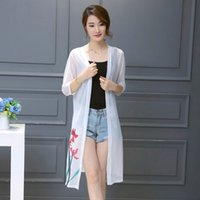 Wholesale Summer Trench Coat Women - Trench coat 2016 new Summer style Suitable for a variety of occasions Vintage Plus-size Loose Floral print Sunscreen Translucent Cardigan