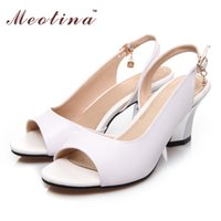 Wholesale Thick Spool Heel Shoes - Wholesale-Meotina Large Size 34-44 Shoes Women Sandals Summer Peep Toe Genuine Real Leather Thick Heels Crystal White Wedding Shoes 999-0A