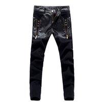 Wholesale Leather Motorcycle Pants 36 - Wholesale-new fashion men leather jeans pants motorcycle pu trousers comfortable pantalon homme 28 36 DCL70