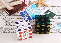 Wholesale 3d stickers puzzles - New Wholesale 3D Cube Puzzle Magic Cube 3 x 3 x 3 Gears Rotate Puzzle Sticker Adults Child's Educational Toy Cube DHL free shipping