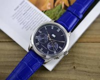 Wholesale Double Movement - 45mm high-grade men's watches double calendar imported leather strap automatic mechanical movement free shipping AAA quality