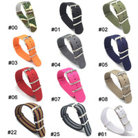 Wholesale Watches Stripes - Nylon watchbands Strap Wholesale Stripe Cambo Solid Black Watch 18 mm Multi Color Army Military nato fabric Strap Bands Buckle