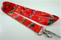 Wholesale Mario Cell Phone Charms - Free Shipping ! 30pcs New Super Mario Bros Cell Phone Charm Camera Keys ID Neck Lanyard Strap Red
