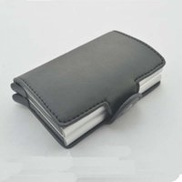 Wholesale Double Long Pillows - Double-Aluminum Credit Card Case Protector Antitheft Wallets Slim Mini RFID Wallet Card Wallet Automatic Card Holders