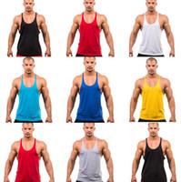 Wholesale Mens Cotton Singlets - Gym Singlets Mens sports vest Mens Tank Tops mens Bodybuilding tanks Men's Golds Gym Stringer Tank Top Sports Clothes DHL free D839