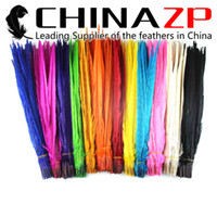 ringneck pheasant feathers Canada - Gold Manufacturer CHINAZP Crafts Factory 50pcs lot 40~45cm Good Quality Dyed Multicolor Ringneck Pheasant Feathers for Decoration