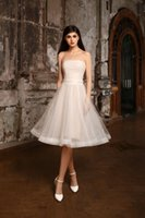 Wholesale Winter Dressess - 2017 A-Line Princess Strapless Knee-Length Tulle Wedding Dress With Ruffles Sash Beading knee length wedding dressess LL#10018