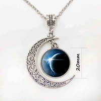 Wholesale Chain Link Images - Jewelry wholesale Image silver Moon necklace of Art fashion statement necklaces Vintage glass necklace&pendants Summer gift S3