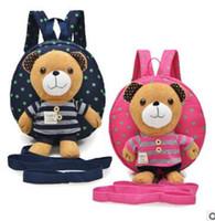 Wholesale Backpack For Dolls - Gift for baby 1pc 25cm cartoon small smile beer animal plush doll backpack shoulder bag Satchel boy girl toy