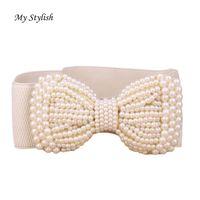 Wholesale Pearls Waist Belts - Wholesale- Fashion Lady Bowknot Stretch Elastic Wide Belt Pearl Waist Belt Nov 23