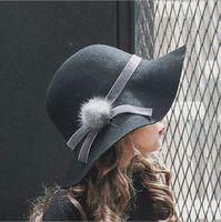 Wholesale Wholesale Baby Vintage Hats - Fashion Baby Girls Hats Vintage fur pompon bows Wool Felt Kids Fedora Caps Korean Children Sun Shade Princess Wide Brim Hats C2018