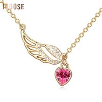 Wholesale cupid pendant gold for sale - Group buy 2017 new A genuine using SWAROVSKI Elements Crystal Necklace Cupid heart jewelry chain and clavicle sale