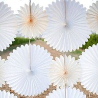 Wholesale White Silver Wedding Fan - Wholesale-30cm=12 inch Tissue Paper fans Flowers pom poms balls lanterns Party Decor Craft Wedding Decoration multi option Wholesale fan