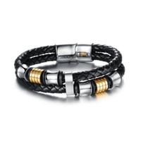 Wholesale Mens Stainless Steel Black Bracelets - Hot sale multi layer leather bracelet men rope chain stainless steel black mens bracelets jewelry 2017 dropshipping