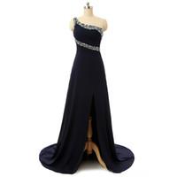 ingrosso un modello di vestiti da sera della spalla-Una spalla saudita con perline con motivo e piega lungo da sera vestito da squisita drese vestito da sirena colorante (SL-E563)