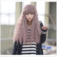 perruques harajuku pourpre achat en gros de-100% de haute qualité nouvelle mode de la mode perruques pleine dentelle chaude Harajuku Lolita long maïs bouclés ondulées pleines perruques cheveux cosplay taro perruque pourpre