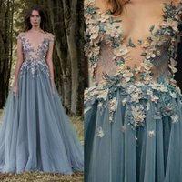 Wholesale Cheap Light For Chrismas - 2017 Paolo Sebastian Lace Prom Dresses Sheer Plunging Neckline 3D Appliqued Party Gowns Cheap Sweep Train Tulle Beads Evening Wear For Women