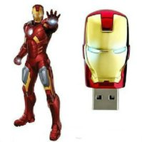 Wholesale Iron Men 256gb - 256GB 128GB 64GB LED Iron Man Head Memory Stick Flash Drive Storage USB Flash Drives Memory Stick U Disk For IOS Windows