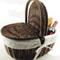 Wholesale Red Picnic Basket - Wholesale- Outdoor Picnic Basket Wicker Basket Hand Receive Outdoor BBQ Cutlery Basket Bag