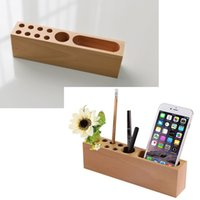 Wholesale Wood Desk Organizers - Wood Pencil Stand Holder for Desk, Business Card Holder for Desk with Wood Office Pen Holder Stand, 10 Slots Desktop Organizer for Office