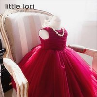 robe en mousseline de soie rouge achat en gros de-Elegant Girl Robes d'été 2017 Red Chiffon Girls Wedding Party Robe d'anniversaire Girl Baptism Vestidos avec Big Bow 6M-12Y