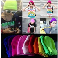 Wholesale neon winter hats - Fashion Knitted Neon Women Beanie Girls Autumn Casual Cap Women's Warm Winter Hats Unisex Men Warm Winter Hats 27 color KKA2057