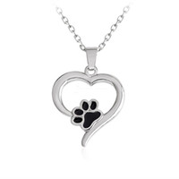 Wholesale 925 silver dog chain necklace - 925 Silver Plating Heart Paw Print Necklace Pet Memorial Personality Cat Dog Lovers Necklace Jewelry Wholesale