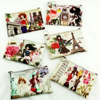 Wholesale Eiffel Tower Wallets - NEW Eiffel Tower girl printing Coin purse Leather key holder wallet hasp small Christmas gifts bag clutch handbag