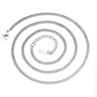 Wholesale China Flats Crystal - 22.4inch Stainless Steel Flat Curb Link Chain Necklace with 50mm Extension Chain for Making Jewelry
