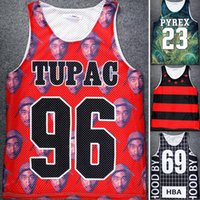 Wholesale 2pac Tank Top - Wholesale- jersey Men Fashion Clothing Floral 2pac Tupac 96 Print Grid Tank Top HBA 69 Pyrex 23 Vest Tops Star Strip Shirt