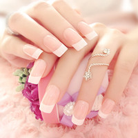Wholesale Long French Nails - Wholesale- 2016 New High Quality Manicure French Long Design Full Cover False Nails with glue style