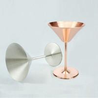 una rosa roja al por mayor-NUEVA Copa de vino de oro dorado Copas de una sola capa de 8 onzas de acero inoxidable Martini Margaret Champagne Cup Martini Vino rojo