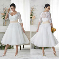 Wholesale Colored Plus Wedding Dresses - 2017 New Plus Size Wedding Dresses With Half Sleeves A Line V Neck Ball Gowns Vintage Tea Length Wedding Dress Colored Wedding Bridal Gowns