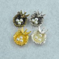 Wholesale Egg Nest Necklace - Wholesale- Mix diy jewelry accessories 4pcs lot metal 4 colors charms bird&eggs nest pendant fit making necklace Z42323