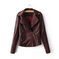 Wholesale Cheap Faux Leather Jacket - Sexy Leather Jackets Women Faux Leather Black Coats Spring Overcoats Long Sleeve Waterproof Windbreak Motor Biker Outwear Tops Cheap Fashion
