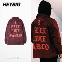 Wholesale Men Casual Clothing China - Wholesale- I Feel Like Pablo Season 3 Kanye West Clothing Heybig Light Trench Street Fashion Hip hop Jacket China Size M-XXXL