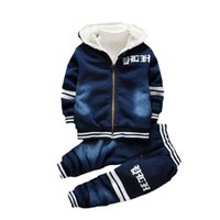 Wholesale Thick Brand Jeans Boys - Kids Clothes For Baby Boys Jeans Denim Clothing Sets Winter Thick Warm Letter Print High Qulity 1- 4 Years