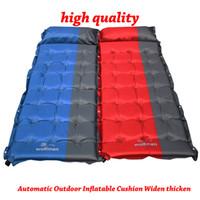 colchón inflable al aire libre solo al por mayor-2017 Hot Cojín inflable al aire libre automático Widen Thicken Luxury Single Person Pad Sleeping Bed Camping Air Mattress 186 * 65 * 5 cm WX-P02