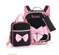 Barato Meninas Arco Mochilas-Kids bag sets fashion girls fofos big bow school bag + polks dots handbags + pen bag 3pcs define menina princesa double shoulder mochilas T4333