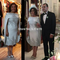 Wholesale Dresses Godmother - Light Gray Mother of the Bride Dress with Cape Tea Length Lace Sequins and Beads Plus Size Mother Groom Dress Godmother Evening Wear